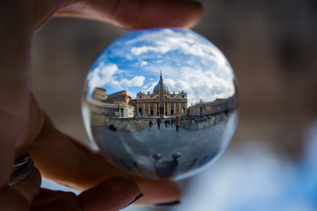 glass sphere: Rome Italy Daytime Vatican through Unique Perspective Glass Sphere Editorial