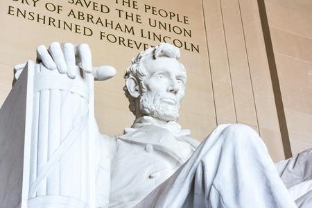 Abraham Lincoln Memorial Sitting Chair famous Landmark Closeup Phrase Washington DC Monument