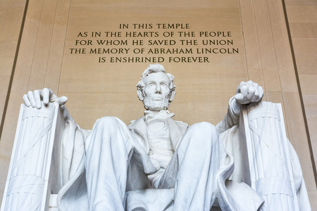 abe: Abraham Lincoln Memorial Sitting Chair famous Landmark Closeup Phrase Washington DC Monument