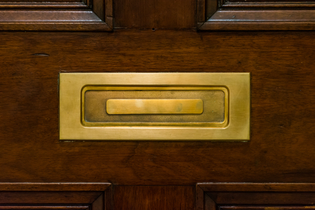 Brown Wooden Door Closed Mailslot Golden Metal Closeup Texture Post Stock Photo