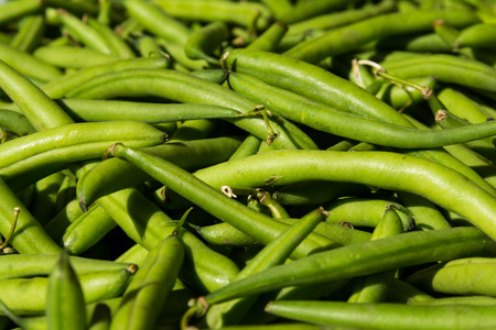 enticing: Macro of Bunch of Fresh Green Beans at Local Food Market