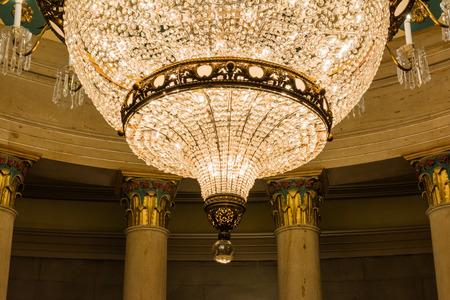 rotunda: US Capitol Building Underground Crypt Chandelier Architecture Interior Hanging Illuminated Gold Feature