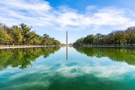 Washington Monument District of Columbia USA Reflecting Pool Blue Sky Daytime Landmark