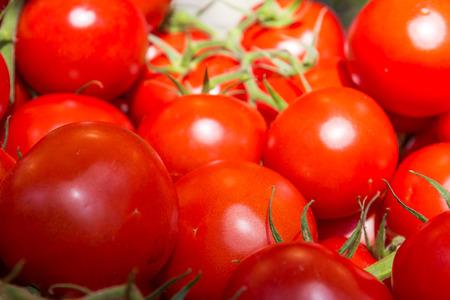 Macro of Bunch of Fresh Tomatoes Stock Photo