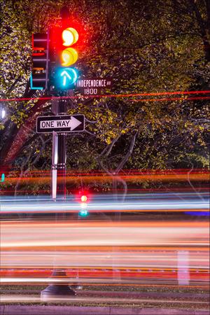 Rushing Car Light Streaks Traffic on Independence Avenue Washington DC USA Stock Photo