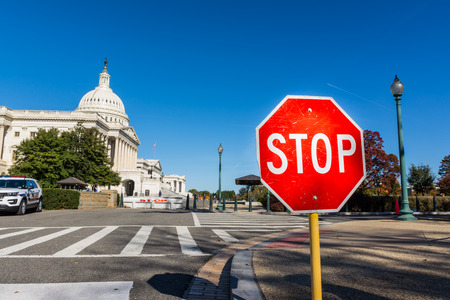 Stop Sign US Capitol Washington DC Outdoors Political Symbol Protest Traffic