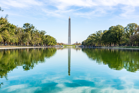 washington monument: Washington Monument District of Columbia USA Reflecting Pool Blue Sky Daytime Landmark