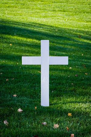 memorial cross: White Wooden Cross Green Grass Grave JFK Memorial Arlington Cemetery Closeup