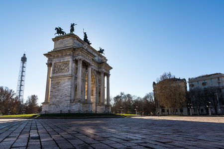 pace: Arco della Pace (Porta Sempione) Sunrise in Milan Italy Traveling Sightseeing Destination Winter 2016 Blue Sky Outdoors Beautiful Monument Architecture Stock Photo