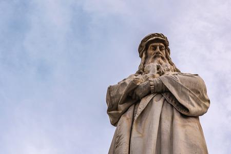 Leonardo Da Vinci Statue Milan Italy Blue Sky Closeup Portrait Body Clothes Texture