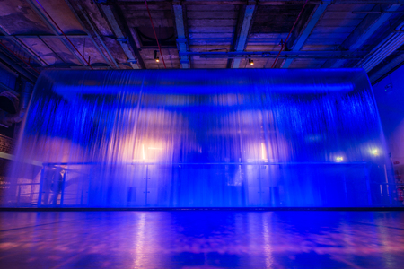 storehouse: Blue Glowing Waterfall Long Exposure Guiness Storehouse Stock Photo