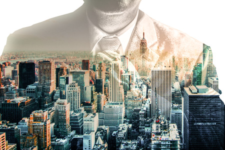Business Man Tying Tie Suit Double Exposure New York City Skyline Cityscape Professional Abstract Stock Photo