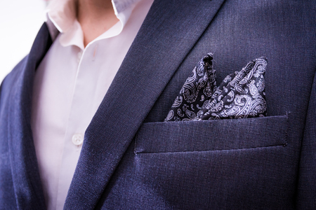 Man Wearing Suit Closeup Handkerchief Pocket Paisley Texture Tuxedo Professional Fashion Wear Blazer Jacket Chest