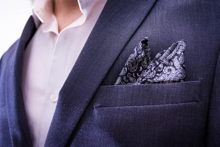 Man Wearing Suit Closeup Handkerchief Pocket Paisley Texture Tuxedo Professional Fashion Wear Blazer Jacket Chest