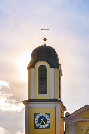 church steeple: Backlit Church Steeple Sunshine Sunrays Warm Sky Architecture Exterior Worship Holy Catholic Christian