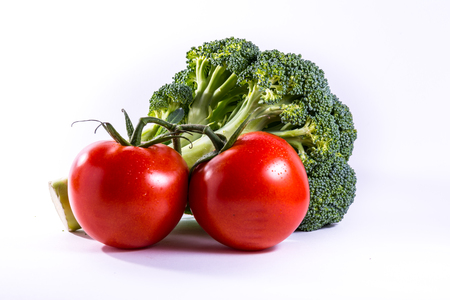 Broccoli Tomatoes Red Green Vegetables Fresh Food Group Isolated White Background
