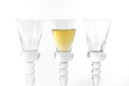 specular: Single Shot Glass Wine Style Isolated White Background Triple Three Together Full Empty Contrast Elegant Fancy Round Stem