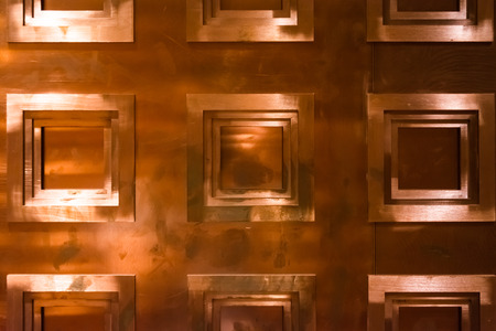 copper background: Bronze Copper Background Texture Wall Covering Squares Geometric Shapes Stock Photo