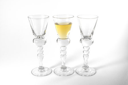 Single Shot Glass Wine Style Isolated White Background Triple Three Together Full Empty Contrast Elegant Fancy Round Stem