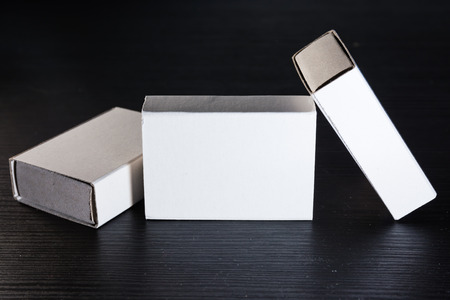 ship with gift: Paper Match Boxes Cartons Cardboard White Blank Template Contraast Stock Photo