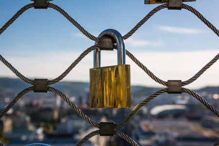 Love Lock Golden Padlock Hanging Tourist Travel Tourism Tradition Trend Strength Metal Fence Blue Sky Location Destination High Altitude Stock Photo