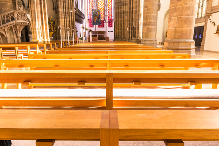 pews: Saint Paul Church Cathedral Architecture Interior Pews Benches Historic Old Munich Germany Europe Religion Seats Chairs Worship Empty