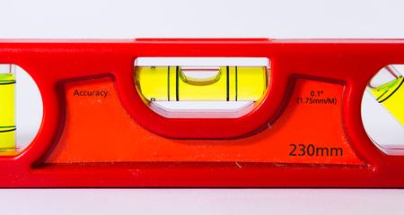 Bubble Spirit Level Construction Hand Tool Bright Red White Backgorund Stock Photo