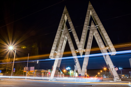 Leipzig Messe M Double Structure Metal Architecture Street Road Timelapse Night Light Streaks