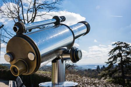 viewer: Tourist Telescope Eyepiece Travel Tourist Destination Landscape Magnification Looking View Beautiful Day Blue Sky Metal Chrome Clean Stock Photo