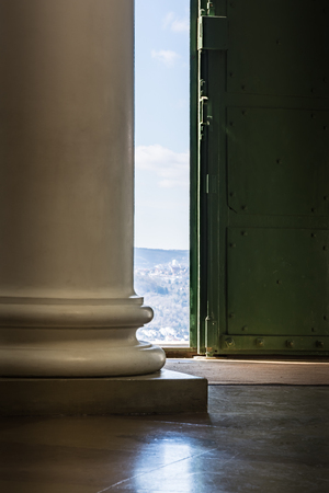 doric: Door Entrance Light Streaming Door Column Old Base European Outside Bright Indoors Looking Out Interior Architecture