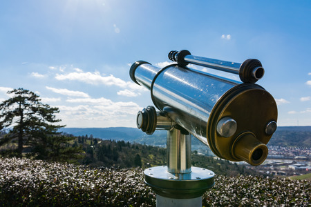 Tourist Telescope Eyepiece Travel Tourist Destination Landscape Magnification Looking View Beautiful Day Blue Sky Metal Chrome Clean Stock Photo