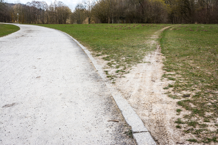 Diverging Path Sidewalk Dirth Path Grass Outdoors Decision Road Less Traveled