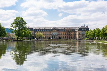 Stuttgart Neues Schloss over Water Beautiful Spring Day German European Historic Architecture Stock Photo