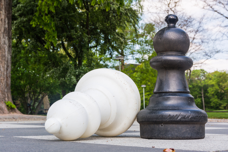 chess board: Chess Pieces Board Outdoors Squares Park Large Strategy Asphalt Stock Photo