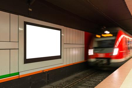 Subway Train Station Advertisement Moving White Blank Isolated Billboard Urban City
