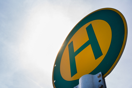 Green Yellow Haltestelle German European Sign Transportation Bus Stop Sky Background Isolated