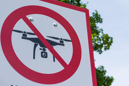 No Drone Zone Sign Cross Red White Metal Real Outdoors Tourist Location Entry Warning Stock Photo