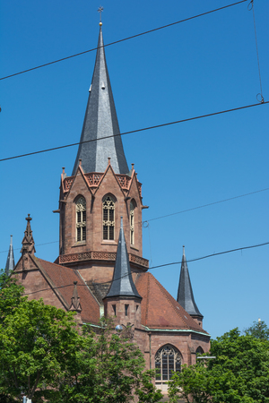 lutheran: Karlsruhe Christuskirche Cathedral Christian Church Tower Spire German European Religion