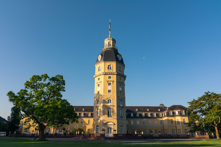 North Side of Karlsruhe Palace Castle Schloss in Germany Blauer Strahl Architecture Banque d'images