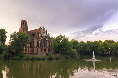 st german: Stuttgart Feuersee Johanesskirche Pond Landscape Germany Europe Architecture Destination