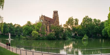 sacral: Stuttgart Feuersee Johanesskirche Pond Landscape Germany Europe Architecture Destination