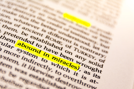 glossary: Book Highlighted Word Yellow Fluorescent Marker Paper Old Keyword Abound in Miracles