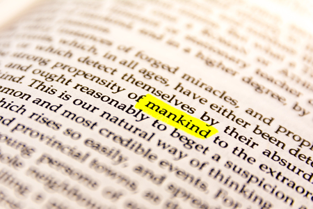 glossary: Book Highlighted Word Yellow Fluorescent Marker Paper Old Keyword Mankind