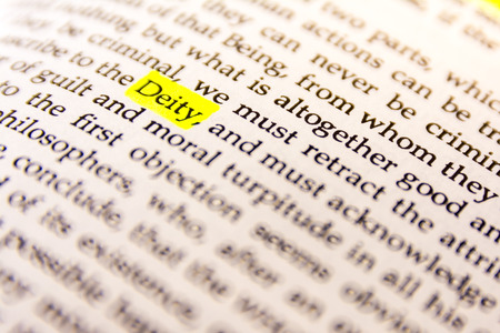 Book Highlighted Word Yellow Fluorescent Marker Paper Old Keyword Deity