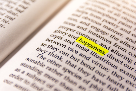 Book Highlighted Word Yellow Fluorescent Marker Paper Old Keyword Happiness Stok Fotoğraf