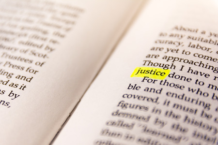 Book Highlighted Word Yellow Fluorescent Marker Paper Old Keyword Justice