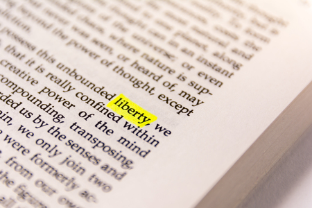 Book Highlighted Word Yellow Fluorescent Marker Paper Old Keyword Liberty
