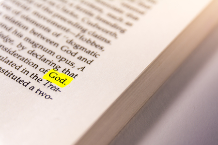 Book Highlighted Word Yellow Fluorescent Marker Paper Old Keyword God