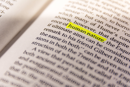 Book Highlighted Word Yellow Fluorescent Marker Paper Old Keyword Human Nature
