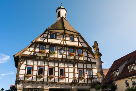Blaubeuren Rathaus City Council Exterior Front Outdoors Blue Sky Germany Tourist Destination Editorial
